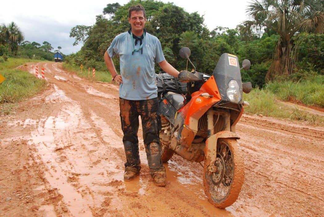 joe von Loeben mit dem Motorrad-peru